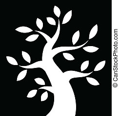 White Bold Tree icon on black background, vector...