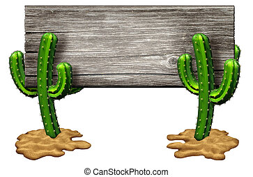 Cactus Sign - Cactus sign as two Cacti plants on a desert...