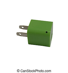 Green Power - Green charging USB power adapter with black...