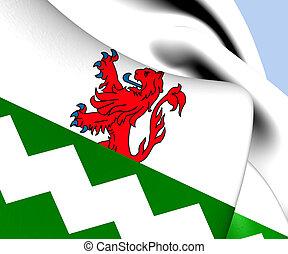 Flag of Westland, Netherlands. Close Up.