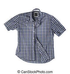 Summer shirt - Men\'s short-sleeved blue plaid cotton shirt...
