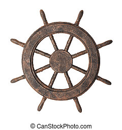 Boat steering wheel - Decorative fake antiqued boat steering...