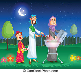 Muslim family doing barbeque on Eid in vector
