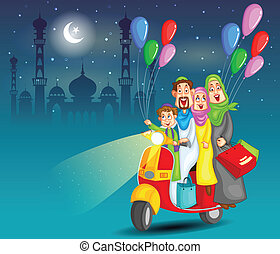 Happy muslim family celebrating Eid - Happy muslim family...