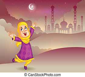 Happy muslim girl wishing Eid mubarak, Happy Eid in vector