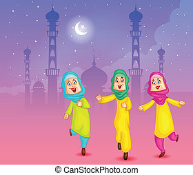 Happy muslim girls wishing Eid mubarak, Happy Eid in vector