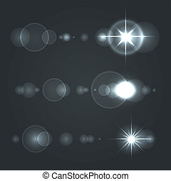 Lens Flare Set sun with Transparent Background. Vector...