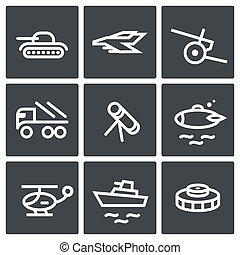 Military icon collection - Military icon set on a black...