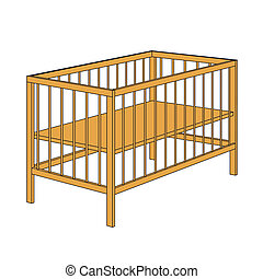Creche vector sign - Empty wooden baby crib isolated on...