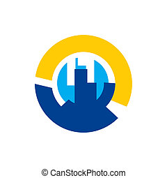 City sign - Branding identity corporate logo isolated on...
