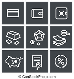 Finance icon collection - Finance icon set on a dark...