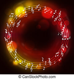 Muisc Notes Multicolor Background - abtract music notes...