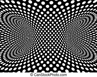 3d Monochrome vortex of dots - 3d render of a monochrome...