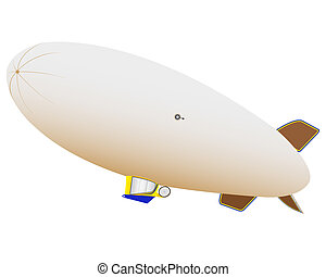 airship for air travel on a white background