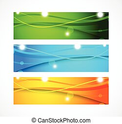 Set of banners with wavy lines