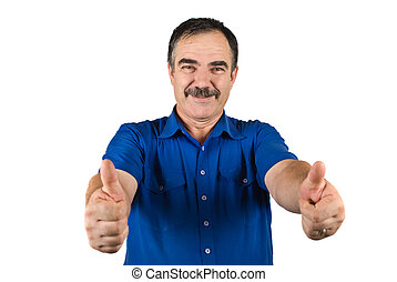 Senior business man give thumbs up - Senior business man...