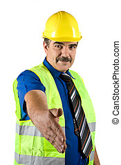 Handshake mature construction engineer - Portrait of mature...
