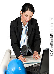 Engineer woman work in office and drawing plans - Engineer...