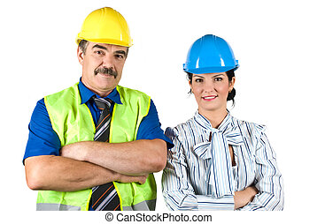 Portrait of two architects team with hard hat - Architects...