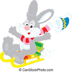 Hare sledding - Little grey hare sliding down in his sledge