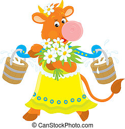 Cow with milk and flowers - friendly smiling red cow that...