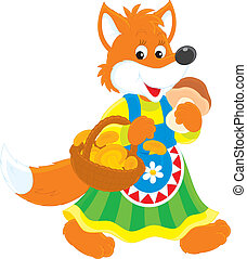 Fox mushroomer - red fox wearing a traditional rustic dress...