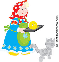 Grandma baked Roly-Poly - Granny holding a freshly baked...