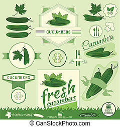 cucumber, vegetables, food product label,background...
