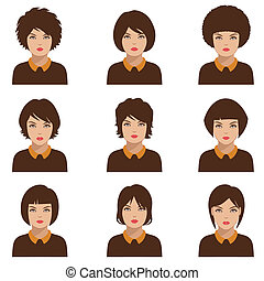 woman face, head - avatar people icon, woman face parts,...
