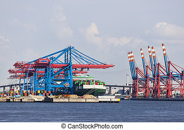 Container Terminal in Hamburg, Germany - Container harbor...