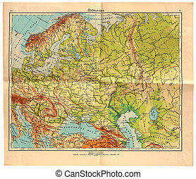 Old map of East Europe in 1943