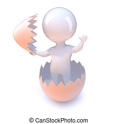 3d Little man hatches from an egg - 3d render of a little...