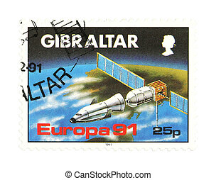 Gibraltar - Collectible stamp from Gibraltar. One with a...