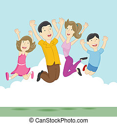 Playful Jumping Family