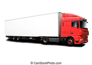 Red Semi - A Big Red Semi Truck Isolated on White