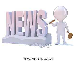 """3d Little man carves the word """"News"""" - 3d render of a little..."""