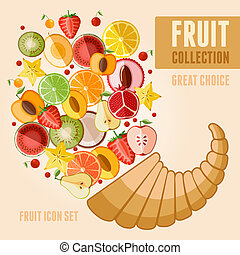 Fruit icon set - Vector fruit icon set in flat style....