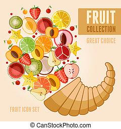 fruta, ícone, jogo