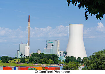 Coal-fired power plant on the Rhine opposite the ferry dock...