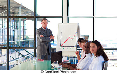Confident mature manager giving a presentation in fornt of...