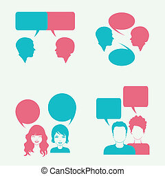 dialog - vector dialog bubble, couple head silhouette,