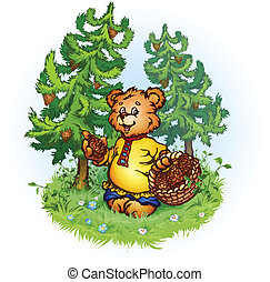 Vector illustration of bruin bear with pine cones on...