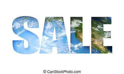 Sale Text Earth (Loop) - Sale text revealing turning Earth...