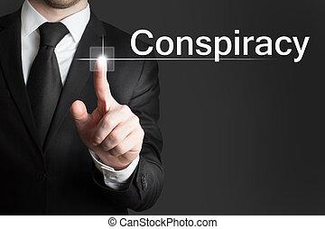 homem negócios, touchscreen, conspiração