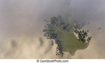 Oasis in storm, view from above  made in 3d software