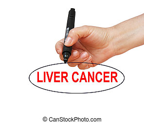LIVER CANCER - writing word LIVER CANCER with marker on...