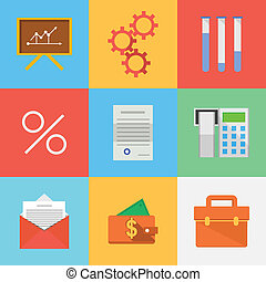 Flat icons for outsourced development - Set of vector...