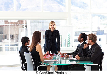 Female manager smiling at the camera in a meeting