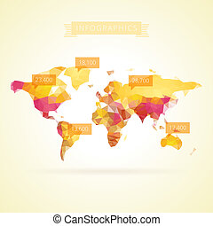World map with infographics elements