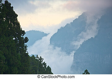 Sunset over Alishan Range, Alisan National Park, Taiwan -...